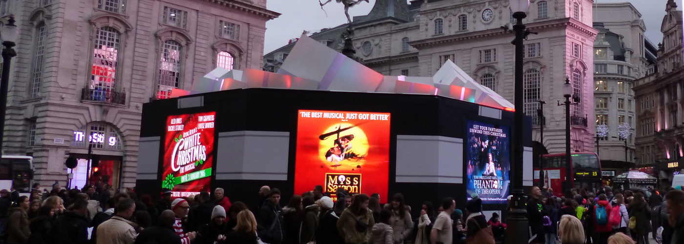 HRi; digiLED; LED screen; London; Piccadilly Circus; Christmas; lights; display